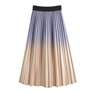 Gradient Color Pleated Print Rainbow Striped Skirt Women Elastic Waist Spring and Autumn New Style High Waist Thinner Mid-length