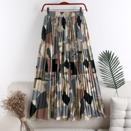 2021 New Vintage Geometric Printed Tulle Pleated Women's Mi-Long Skirts High Waist Female Umbrella Skirts Spring Summer