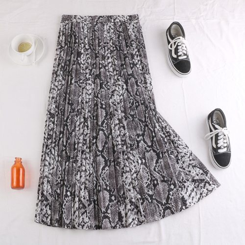 Long Pleated Skirt Women With Leopard Snake Print For Autumn Winter 2020 Ladies Korean High Waist Maxi Skirt Female