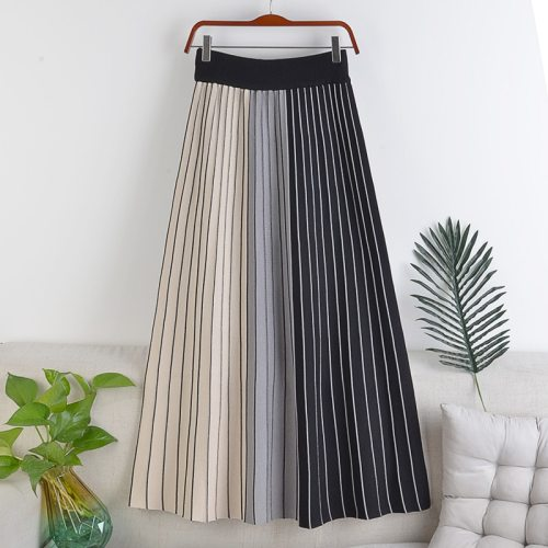 High waist slimming elastic waist knitted fabric striped pleated skirt spring color matching mid-length half-length female skirt