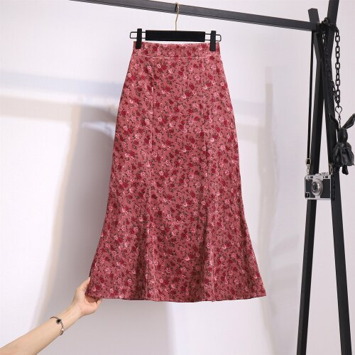 Retro Floral Mermaid Skirt A-line Package Hip New Mid-length Corduroy Skirt Spring and Autumn Women's Three Large Size Trend