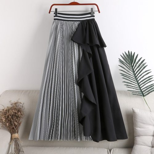 Stitching Irregular Ruffle Skirt 2021 New Korean Version of Elastic Waist Was Thinner Mid-length Striped Female Skirt Fashion