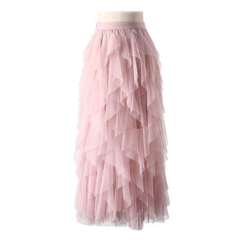 Irregular Tulle Skirt Women 2021 Spring Summer Korean Elegant High Waist Pleated Skirt Female A-line Long Maxi Skirt
