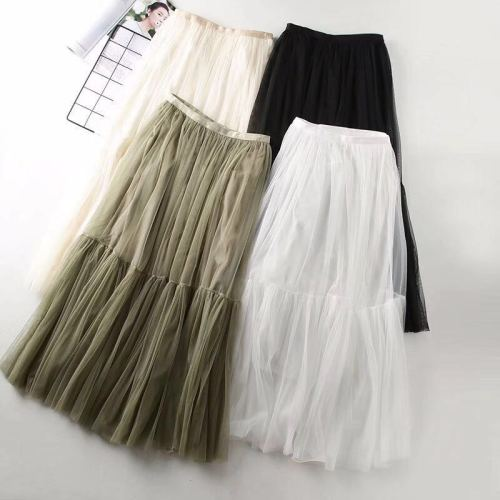 Spring Summer Long Mesh Tiered Skirt Office Lady Vintage Layered Ruffle Beach Travel High Street Elastic Waist Skirts Tulle Plea