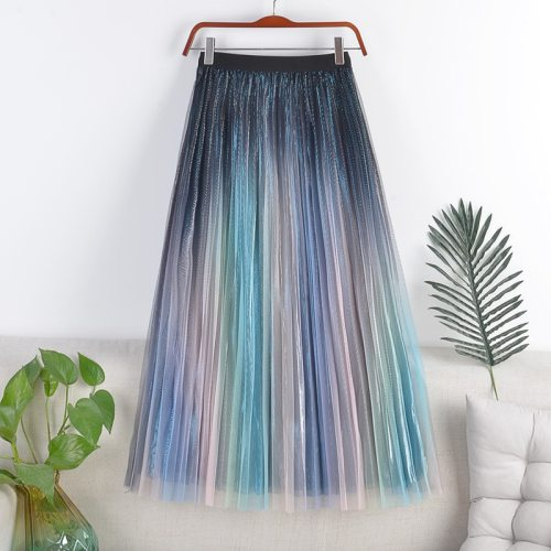 Summer Women's Tulle Pleated Skirts with High Waist A Line Patchwork Rainbow Skirt Women Knee Length Tulle Skirt Femme