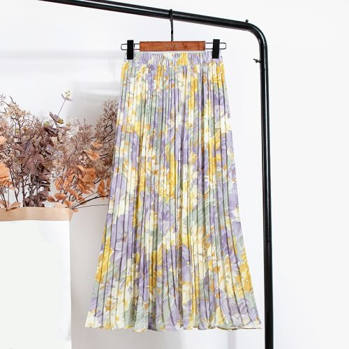 New 2021 Vintage Floral Printed Tulle Pleated Mi-long Women Skirts High Waist Loose Female Umbrella Skirts Spring Summer