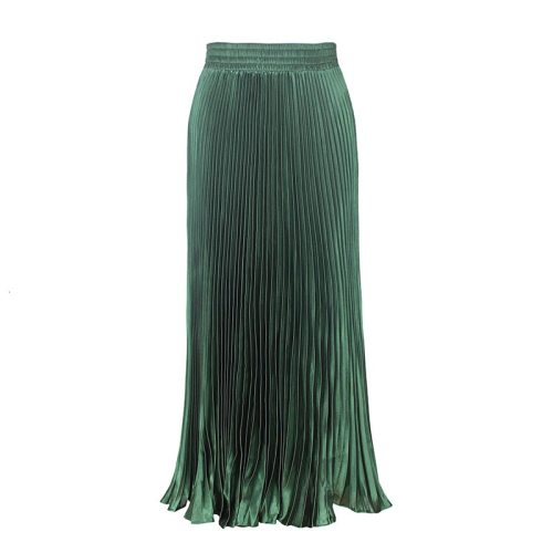 2021 Women's spring Fashion Trend New Pattern Street Dropped Waist Metal Shiny Pleated Long Organ Befree Skirt AI518