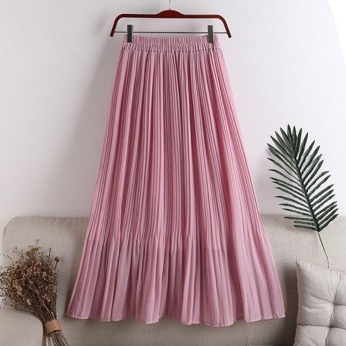 2021 New Women Summer A-Line Chiffon Skirt High Waist Women Pleated Skirt Femme Faldas Jupe Saia Spring Women Clothes