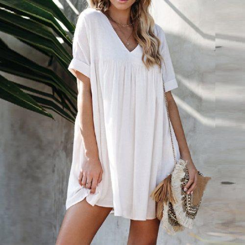 Short Sleeve Summer Dress Women's Plus Size Loose V-neck Dress Casual Beach Solid Color White Pink Black Dresses Vestidos