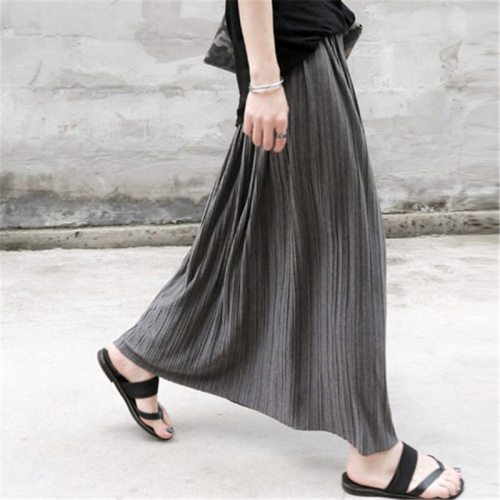 Long Skirt Latest Fashion Ankle Length Cotton Pleated Skirts for Women Autumn Winter High Waist Casual Woman Maxi Skirts ZY2406