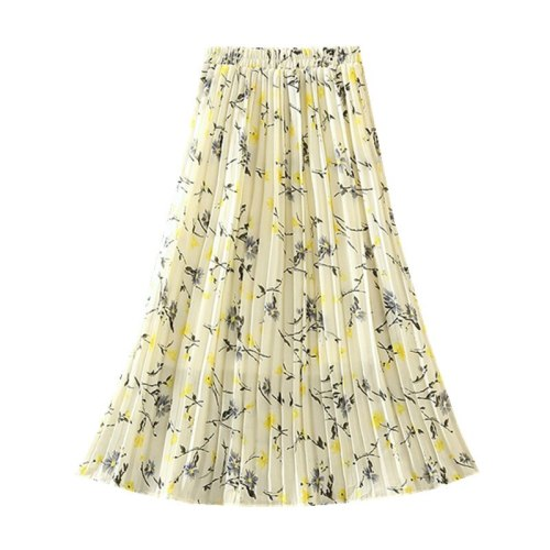 2021 Summer New Women'S Clothing High Waist Was Thin Wild A Word Floral Pleated Skirt Printed Chiffon Mid-Length Skirt