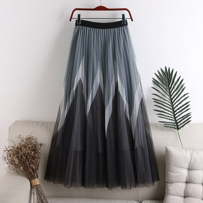 New Product Printing Mesh Skirt 2020 Woman Long High Waisted Fluffy Midi Skirt Pleated Ruffle Tulle Skirts For Women