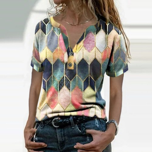 2021 Fashion Summer Casual Rhombus Loose T-Shirts Patchwork Design Button Decor V Neck Short Sleeve Slim Pullovers Tee Shirt