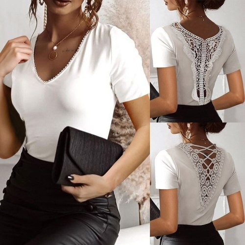 Women's fashion casual commuter T-shirt 2021 summer tops Sexy V-neck solid color thin lace short sleeves white T-shirt
