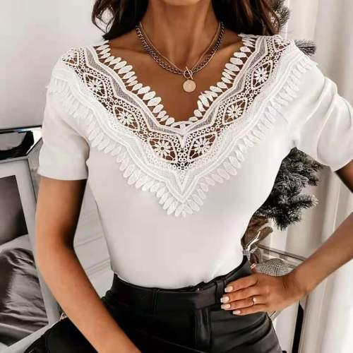 2021 Fashion Lace Sexy Women'S Shirts Solid Short Sleeve Summer  Hollow Out Patchwork Casual Tunic Tops Women Clothing