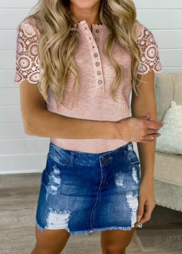 2021 Elegant Lace Slim T-Shirt Women Summer Short Sleeve Top Solid Color Knitted Tee Shirt Femme Patchwork Button Tops