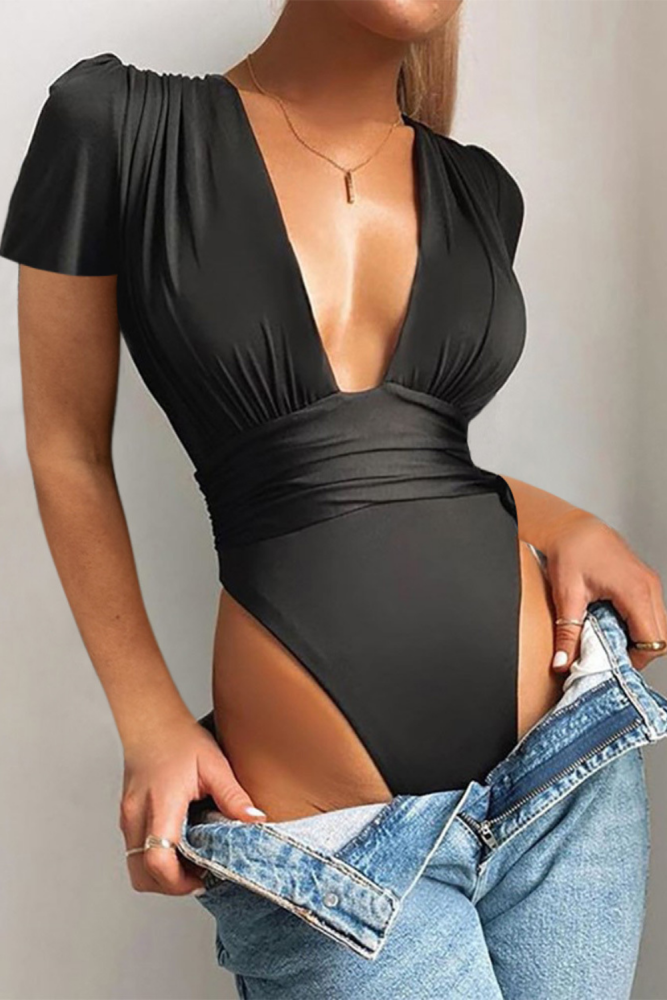 Deep V Neck High Cut Skinny Women Romper Sgort Sleeve Solid Pleated Sexy Jumpsuits Overall
