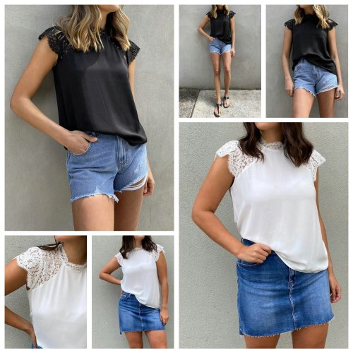 Women's Shirt Lace Raglan Short Sleeve Stand Away Collar Solid Color Tops for Female T-shirts With Short Sleeve Women Clothing