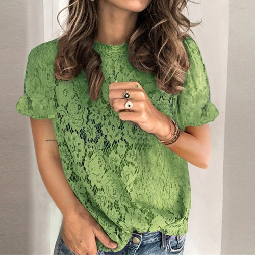 2021 Fashion Women Summer Solid Color T-Shirts Hollow Out Design Lace Decor O Neck Floral Sleeve Slim Pullovers Tee Shirt