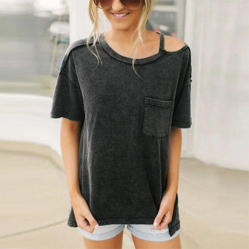 2021 Fashion Women Solid T-Shirts One Shoulder Design Pocket Decor O Neck Short Sleeve Summer Casual Loose Tee Shirt