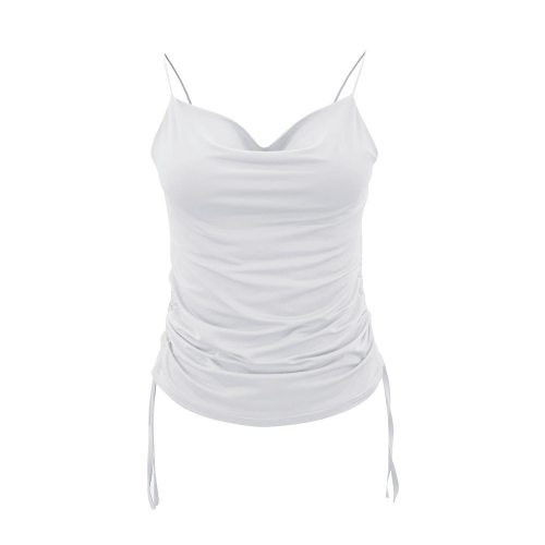 Sexy Off Shoulder Women Camisole Summer V Neck Drawstring Sleeveless Tank Tops Vacation Party Club Clothes Tops Streetwear D30