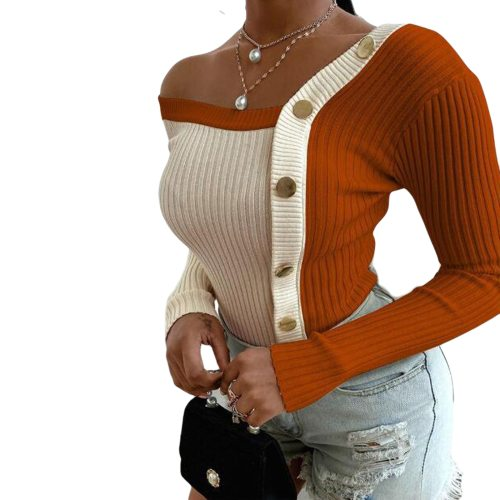Women Fashion Elegant Knitted tops Long sleeve Cold Shoulder Sexy Casual Slim Buttons Top Femme Ladies Solid Sweater Fall Spring