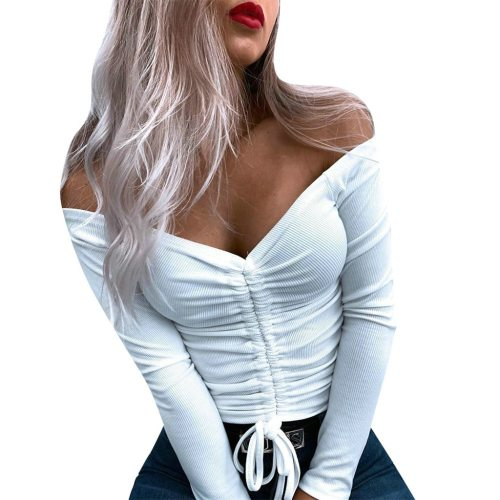 Women Autumn Sexy Solid V Neck Drawstring Design Long Sleeve Blouse Tops Drawstring off shoulder top roupa feminina