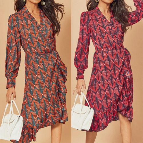 Long-sleeve v-neck rose red orange summer vintage sexy zaraing-style za 2021 women sheining lolita kawaii Y2K robe party dress