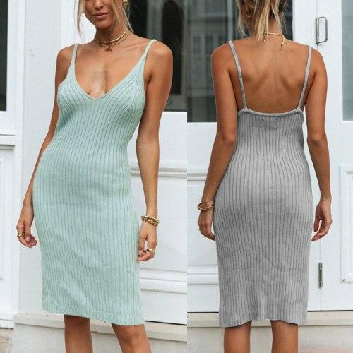 Sexy Deep V Neck Dress Women Sleeveless Camisole Backless  Mini Dresses 2020 Summer Lady Sexy Club Wear Elegant Vestidos