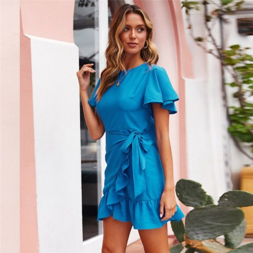 2021 Women Summer Sexy Vintage Dress Fashion Casual Backless Party Night Club Mini Dress