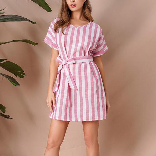 Women Summer Hot Casual Short Sleeve O-Neck Striped Print Mini Party Dress Harajuku Vintage Sundress