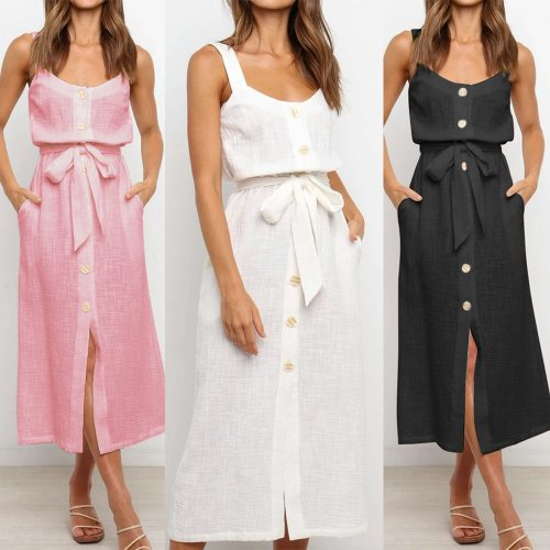 Women Dresses 2021 Summer Fashion Buttons Bandage Solid Sling Vest Sleeveless Casual Sexy Loose Long Dress Beach White Vestidos