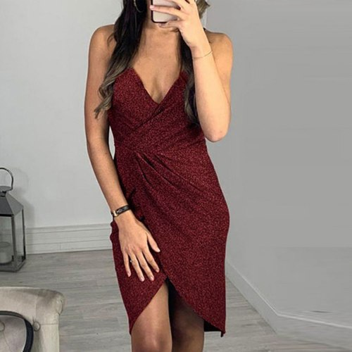 Mini Drees Women V-neck Sleeveless Dresses Sequins Solid Above Knee Summer Dresses Spaghetti Strap Female Backless Dress