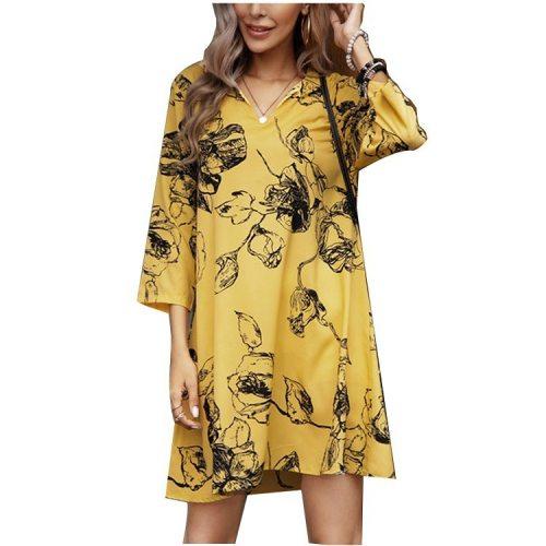Spring Summer 2021 Fashion Casual Vintage Print V Neck Dresses for Women Loose Shirt Dresses Large Bohemian Elegant Sexy Dress