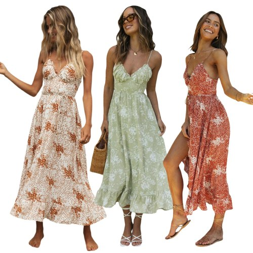 2021 New Women Summer Casual Long Dress Ladies Floral Printed Pattern V-neck Sleeveless Bohemian Beach Sexy Dresses Outfits