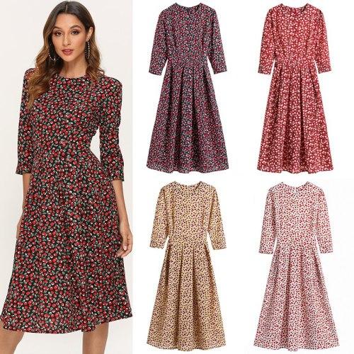 Elegant Floral Print Dress Women O Neck Half Sleeve Vintage Midi Ladies Dresses Knee Length Loose Pleated Dress Robe Femme XXL