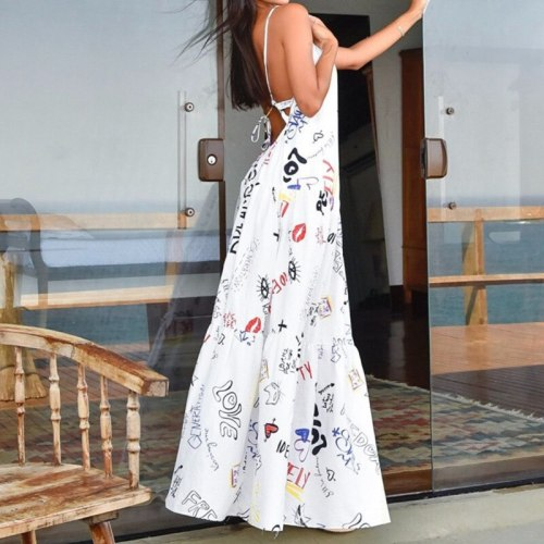 Women Dress Sleeveless Backless Printed Spaghetti Strap Maxi Dresses Sexy Long Summer Dress 2021 White Party Vestido de Mujer