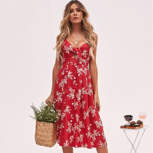 Summer Dress 2021Casual Flower Print Floral Slip Sundresses Backless Midi Red Dresses Women Clothing Bow Beach Vacation Vestidos