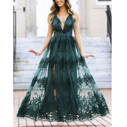 2021 Summer Elegant Women Long Party Dress Embroidery Sexy Backless Maxi Tulle Dress