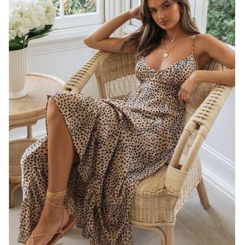 Sexy Leopard Cross Back Long Dress Fashion Bandage Dress Woman Party Night Holiday Summer Spaghetti Strap Maxi Dress Y98