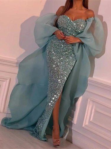 Evening Sequins Dress 2020 Sleeveless Elegant Floor-length Mermaid Party Long Dresses Summer One-shoulder Side Split Dress