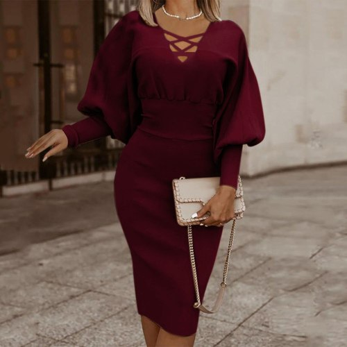 Lantern Sleeve Dress Women Long Sleeve Sexy Slim V-neck Slim Solid Pullover Dresses For Women Женское Платье