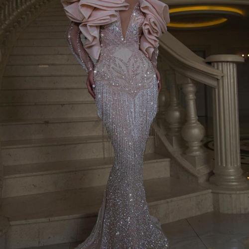 Party Dress Women's Sexy Sequin V-neck Dresses Banquet Slim Long Sleeve Tassel Dinner Ladies Maxi Dress Lugentolo