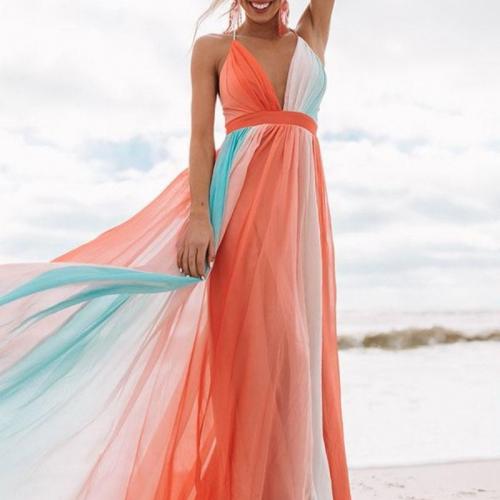 Women Dress Rainbow Patchwork Deep V Neck Bohemia Dress Sexy Long Backless Spaghetti Strap Maxi Dresses Plus Size 2021