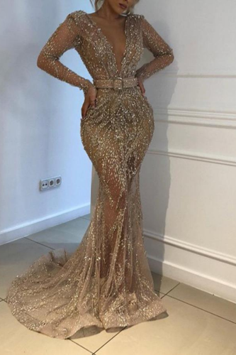 Party Dress Women Sequin Sexy Dresses V-neck Long Sleeve Banquet Slim Ladies Dinner Gold Solid Mesh Maxi Dress Lugentolo