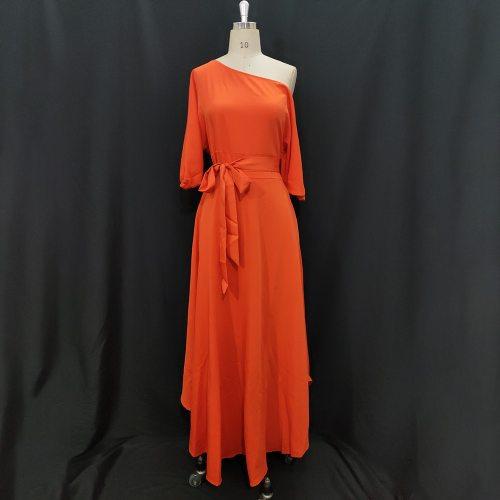 Women Dress Bare Shoulder Waist Belt Long A Line Pleated Orange Casual Fashion Female Ladies Elegant New Autumn Summer Robes