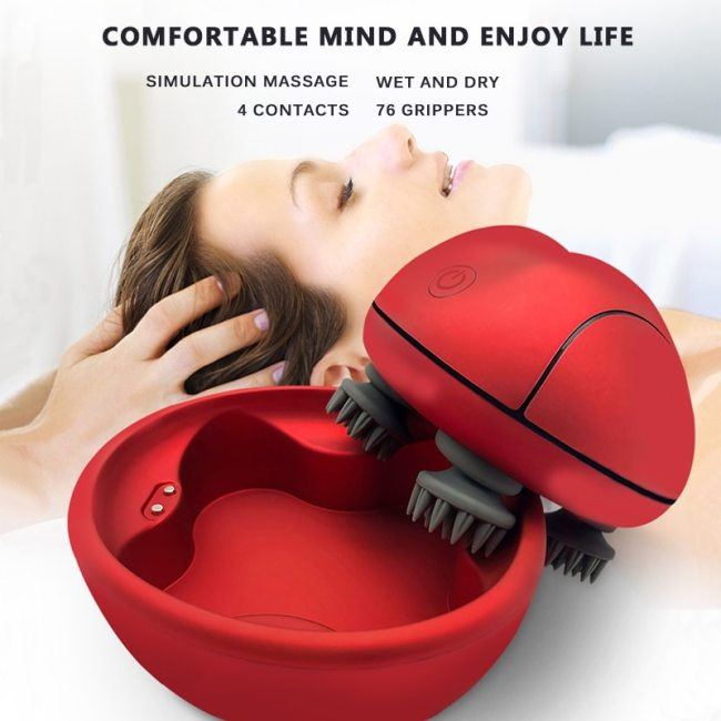 2021 New 3D Scalp Massager Waterproof Electric Head Massager Wireless Promote Hair Growth Body Deep Tissue Kneading Vibrating