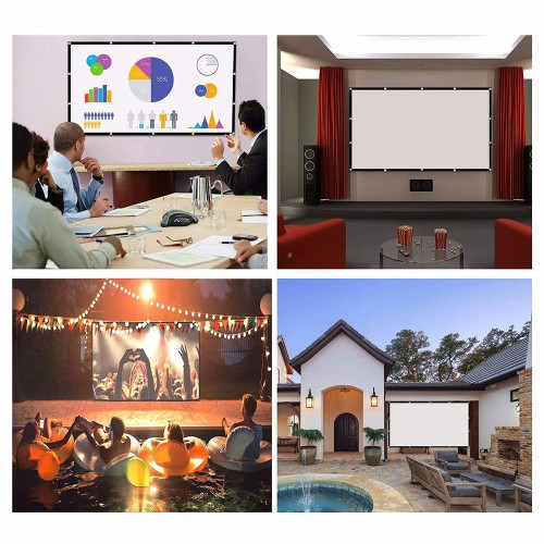 Outdoor Big Screen Projector Portable 60 72 84 100 120 150 Inches Home Outdoor KTV 3D HD Projection Folding Soft Screen