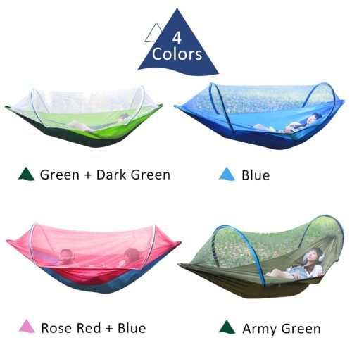 2 Person Portable Outdoor Mosquito Net 260x150cm Parachute Hammock Camping Hanging Sleeping Bed Swing Double Chair Hanging Bed