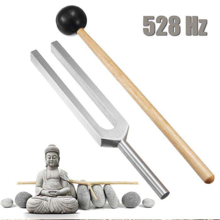 Aluminum Medical Tuning Fork Chakra Hammer Ball Diagnostic 528HZ With Mallet Set Nervous System Testing Tuning Fork Health Care